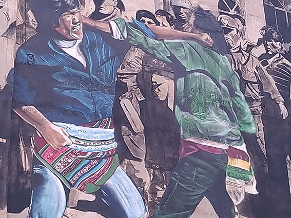 Tinku, folk dance and political protest, details of murales Puriskiri, traditional Andean fighting dance Cochabamba