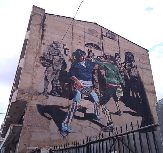 Tinku, folk dance and political protest, murales Puriskiri, traditional Andean fighting dance Cochabamba